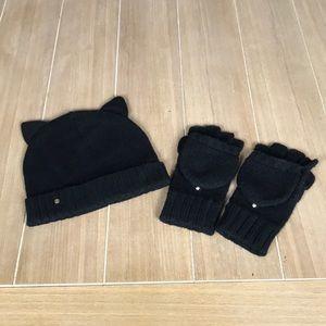 Black Cat Kate Spade ♠️ Hat & Glove Set